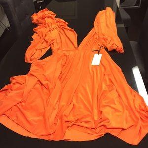 Short wrap orange dress by von vonni